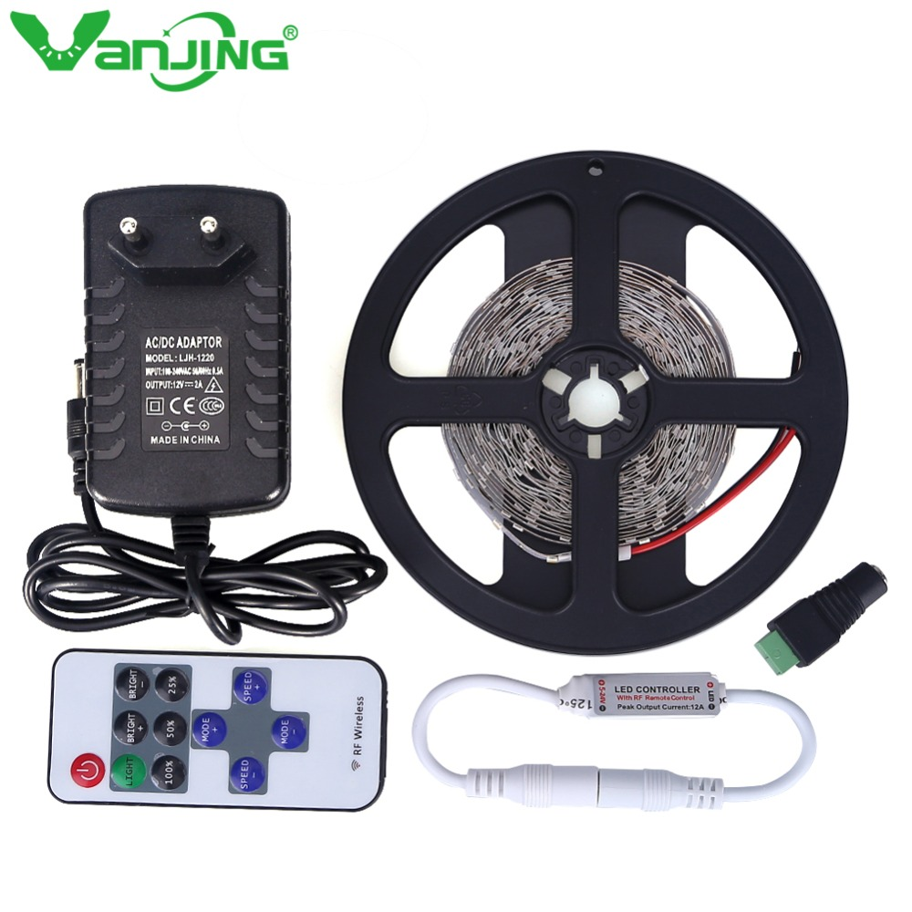 LED Strip 5M 300LED SMD 3528 Diode Tape Ribbon + 12V 2A Power Supply Adapter +/- RF Remote Controller Switch Flexible LED Light rgb led strip 5m 300led motorcycle 3528 smd ir remote controller 2a power adapter flexible light led tape home decoration lamps