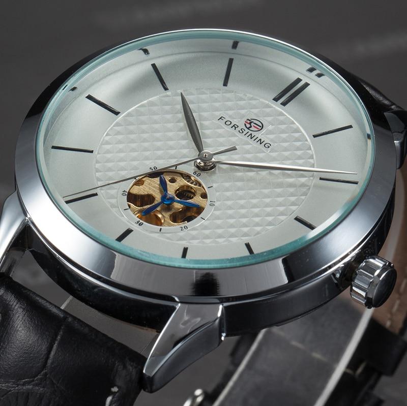 FORSINING Brand Mens Watches Retro Chrome Case Leather Strap White Dial Flywheel Design Male Automatic Wrist Watch Reloj Hombre lo ultimo en reloj tourbillon