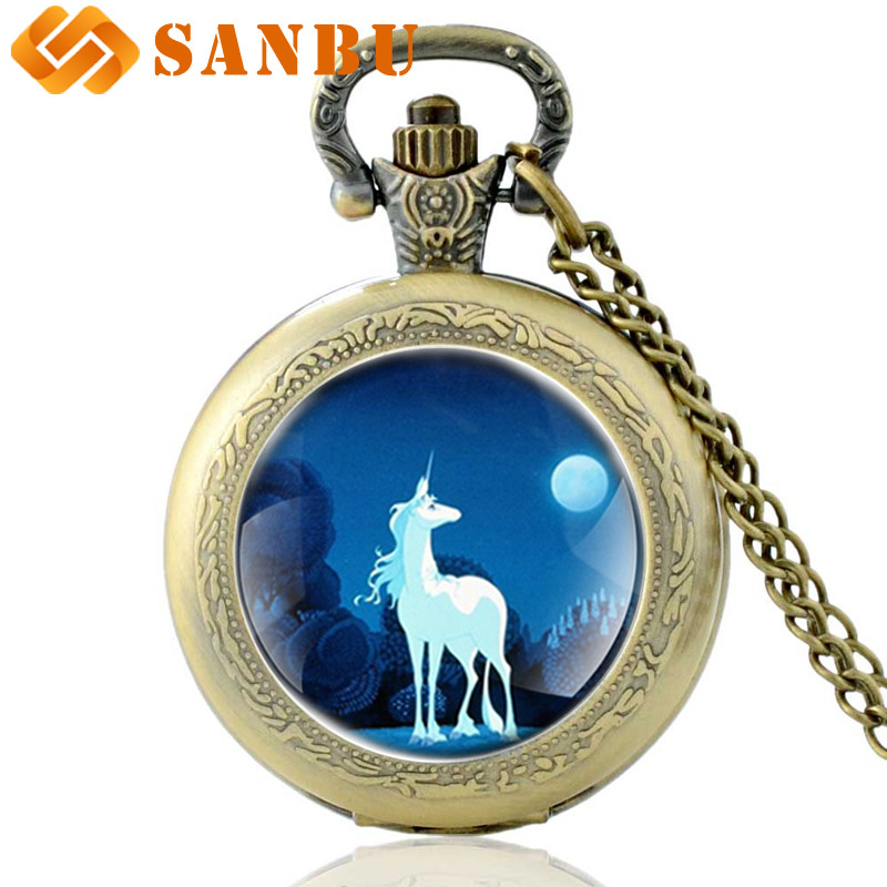 New Fashion Quartz Unicorn Necklace Pocket Watch Vintage Bronze Men Women Pendant Gifts