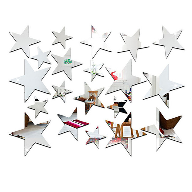 20pcs/set Sliver 3D Acrylic Wall Stickers Cheap Decorative Mirror Surface Wall Decal Star Shape Art Paper Home Office Decor