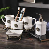 Northern European ice crack creative ceramic bathroom five-piece single-piece lotion bottle toothbrush cup ashtray wedding gift