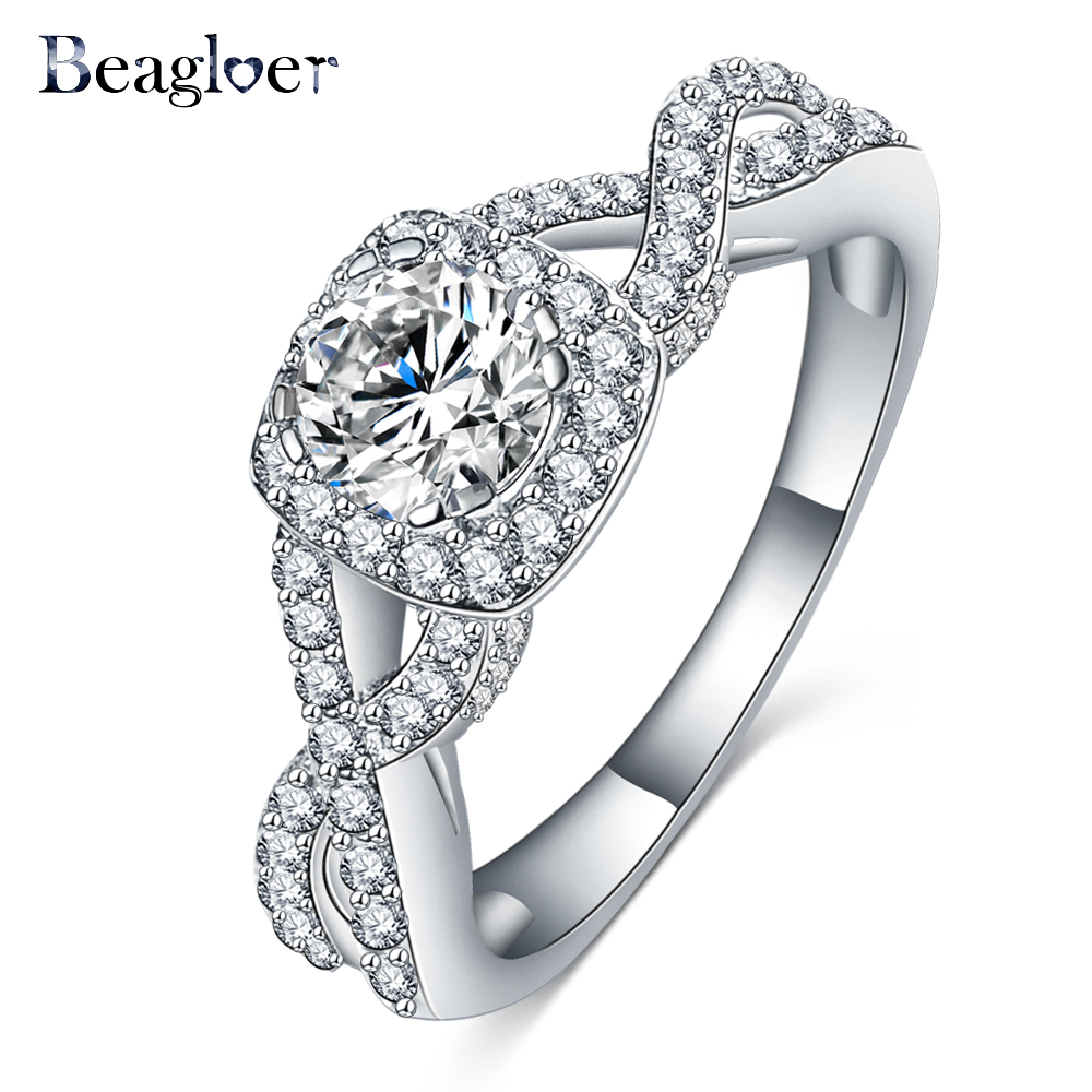 beagloer brand top selling shiny ring austrian crystal engagement ring square zirconia wedding rings for women - Selling Wedding Ring