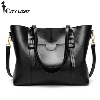 Vintage Women Handbag PU Oil Wax Leather Women Bag Large Capacity Tote Bag Big Ladies Shoulder Bags Famous  Bolsas Feminina