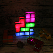 ZMISHIBO DIY Tetris Game LED Lights Stackable Puzzle Lamp Constructible Block Night Light EU US Socket Colorful Brick Kids Toy fenglaiyi diy tetris puzzle retro style game tower baby colorful brick creative puzzle led night light children gift lamp