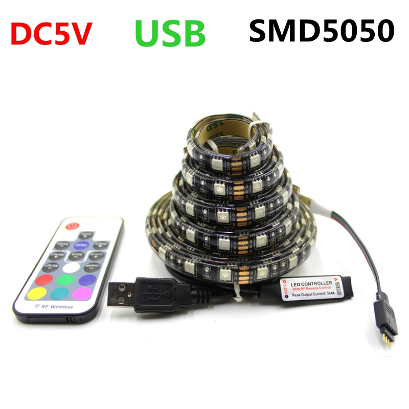 IP65 waterproof DC5V USB LED Strip RGB 5050 Black PCB Board Flexible Light TV Background Lighting RGB LED Strip Adhesive Tape