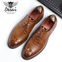 Crocodile Pattern Derby Shoes British Style Pointed Business Dress Shoes Top Leather Men's Formal Shoes EUR Size 38 44
