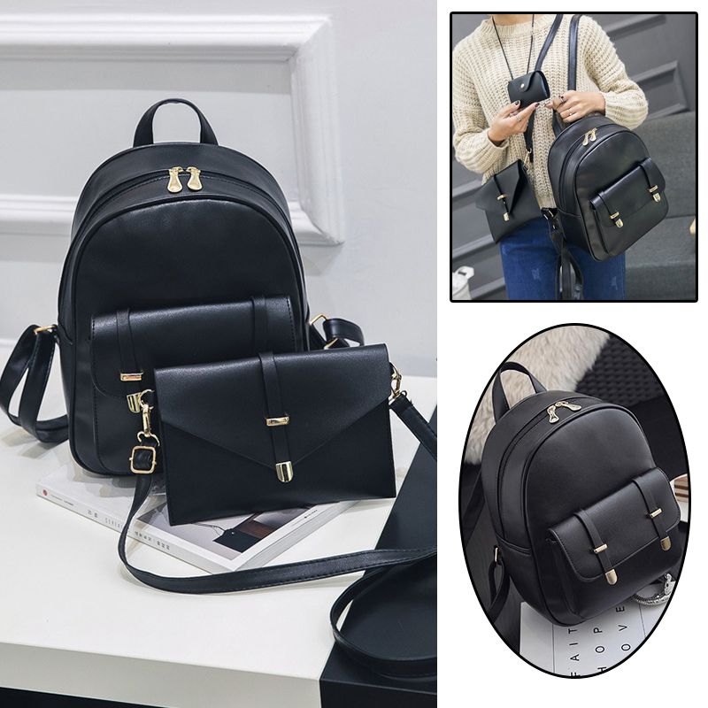 69b32b19d0 3Pcs Women PU Leather Backpack Purse Card Holder School Shoulder Bag  Fashion-in Backpacks from Luggage & Bags on Aliexpress.com | Alibaba Group
