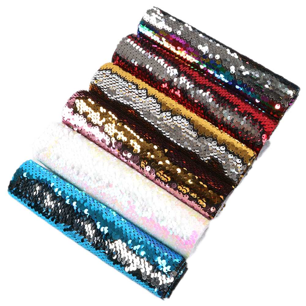 David accessories 20*34cm reversible Sequin faux artificial Synthetic leather fabric diy decoration crafts 6piece/set,1Yc6260