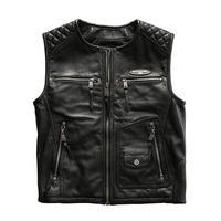 For super Motor rider Mens cow leather vest genuine cowhide leather motorcycle rider vest HA 85