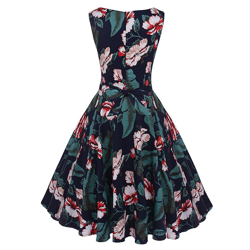 Kostlish Cotton Summer Dress Women 2017 Sleeveless Tunic 50s Vintage Dress Belt Elegant Print Rockabilly Party Dresses Sundress (71)