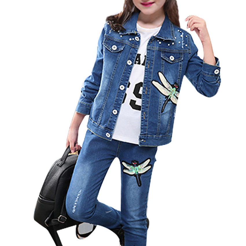 Girls Sets Spring New Casual Cartoon Denim Clothes Baby Kids Long Sleeve Coats Suits Fashion Outfits 6 8 10 12 Years Vestidos 2018 spring girls clothing sets baby teenage kids girls clothes denim coats skirts long sleeve suits outwear 8 10 12 14 years