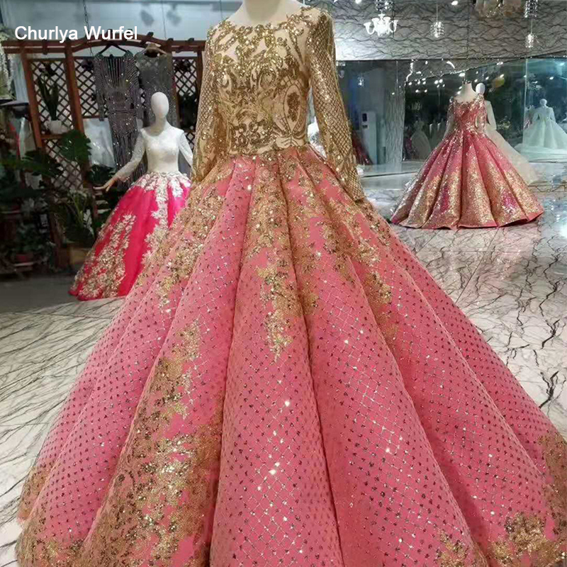 LSS442 Shiny Pleat Evening Dresses Floor Length O-neck Long Sleeves Lace Up Back  Golden Sequined Muslim Swollen Prom Dresses