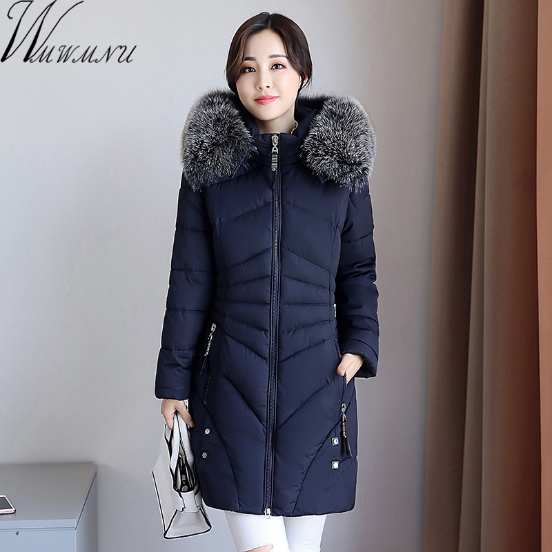 Wmwmnu 2017 New Women Long Winter Jacket coats Plus Size Warm Cotton Coat Hooded big Fur Collar Female Parkas Wadded Outerwear 2015 new hot thicken warm cold woman down jacket coat parkas outerwear hooded fox fur collar long plus size 3xxxl luxury brand