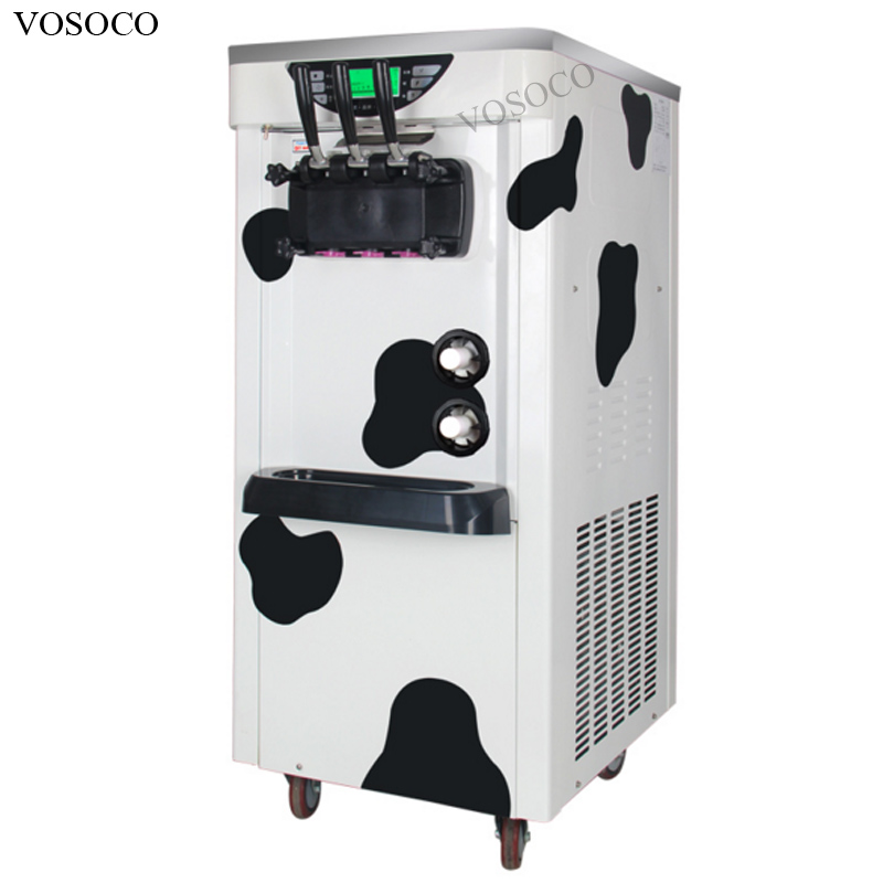 VOSOCO Ice cream machine Commercial automatic cone intelligent 3 flavor vertical cone 2000W ice cream maker waterproof Touch LCD