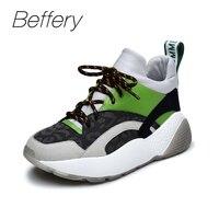 Beffery 2018 Новый Для женщин Спортивная обувь модные высокие плоские женские туфли на платформе Кружево на шнуровке Повседневная обувь для дево