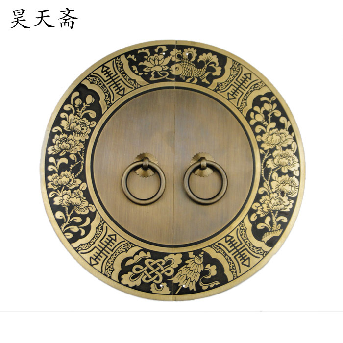 [Haotian vegetarian] Chinese antique furniture cabinet drawer handle copper HTB-243 Blossoming paragraph 24cm