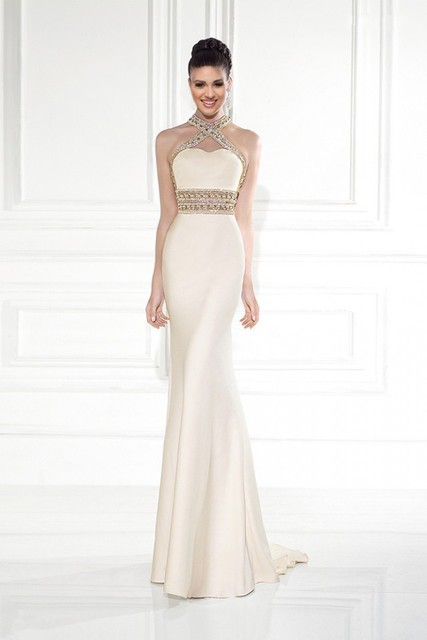 016 Custom Cream Colored Strapless Beaded Mermaid Sirene No Back Dress Robes DE Party Eyes Wide Lace YU4745