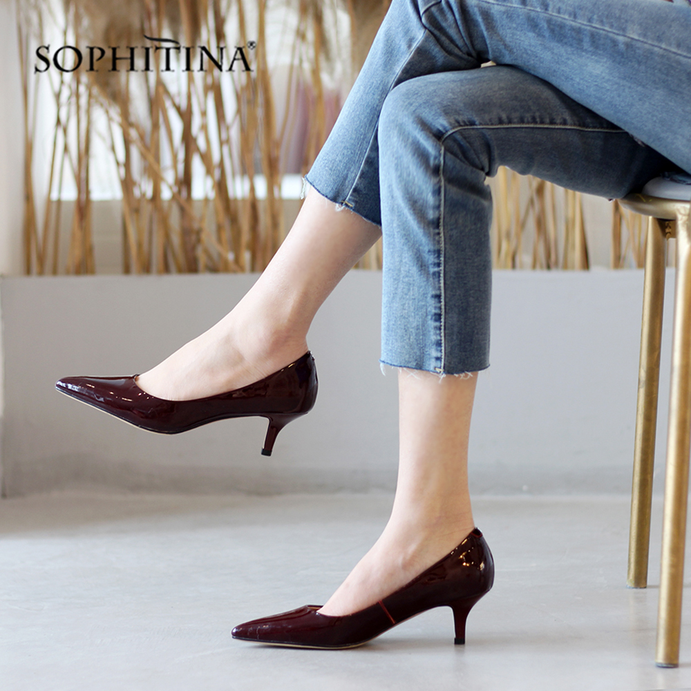 SOPHITINA Design Pointed Toe Pumps Sexy Med Thin Heel Genuine Leather Party Women Shoes Fashion Shallow Office Lady Pumps SO137SOPHITINA Design Pointed Toe Pumps Sexy Med Thin Heel Genuine Leather Party Women Shoes Fashion Shallow Office Lady Pumps SO137