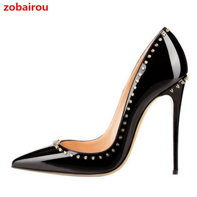 a0e820d804e5 2018 Top Quality Rivets Studded Wedding Shoes Women Sexy Pointed Toe Pumps  Leather Thin High Heels Stylish Ladies Footwear