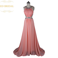 A Line Crystal Beaded Coral Chiffon Rhinestone Backless Sexy Prom Dress Long Formal Party Gown Robe