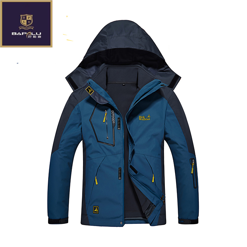 new mens Female jacket Stitching Hooded Thickened Keep warm jacket Windproof Waterproof jacket coat 2 in 1 jacket 4XL 5XL6XL