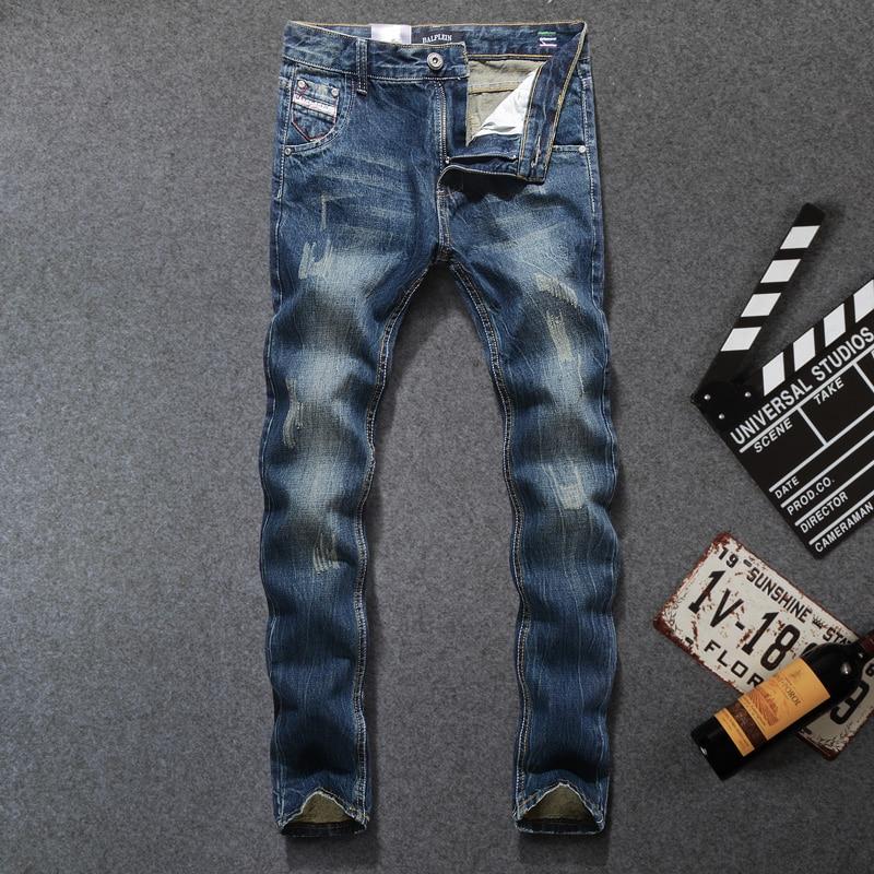2018 Newly Basic Classical   Jeans   Men Black Blue Straight Fit 100% Cotton Ripped   Jeans   For Men Vintage Italian Designer Men   Jeans