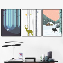 Cartoon Animal Dears Canvas Painting Wall Art Pictures For Kids Room Nursery Decoration Nordic Posters and Prints No Frame(China)