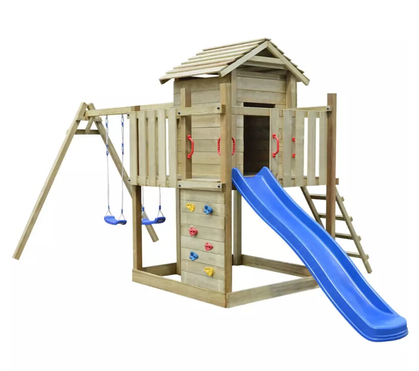 Children Playhouse Set 1 Slide 2 Swings Sturdy High-Quality UV-Resistant Wood Outdoor Playset 557x280x271 Cm DIY Playground