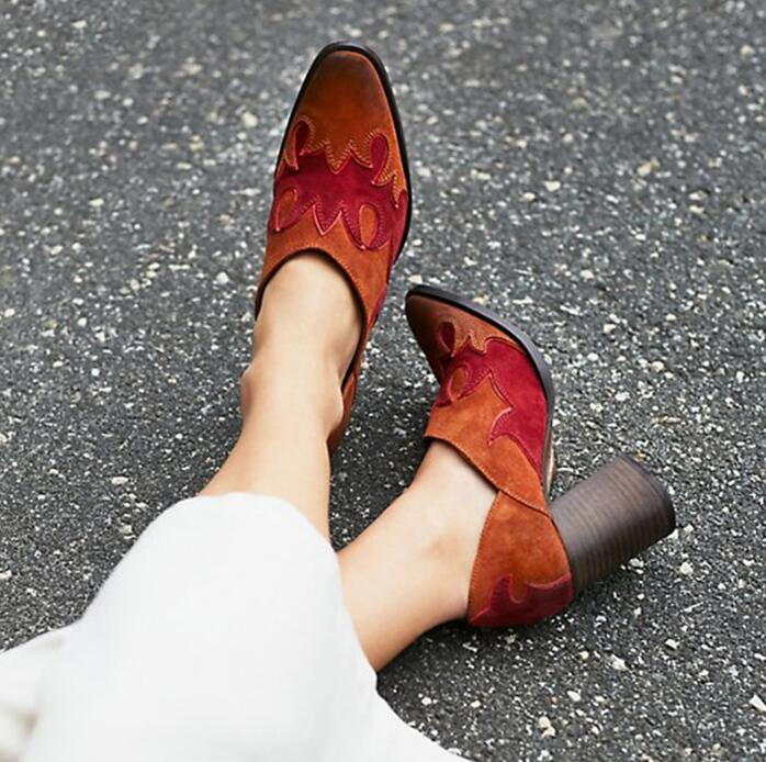 Spring Fashion Suede Leather Women Pointed Toe Pumps West Style Ladies Slip On High Heels Mixed Colors Leather Patchwork Pumps