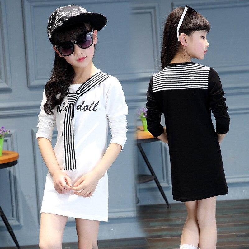 Crianças 2019 parágrafo longo vestido vestido de meninas primavera vestido listrado em torno do pescoço de algodão esportes 4 5 6 7 8 9 10 11 12 yeas velho