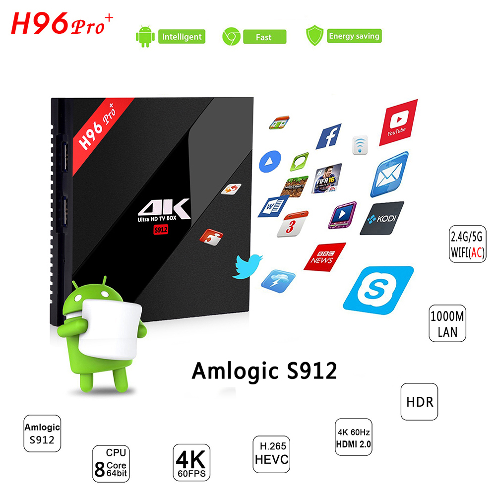 H96 PRO Plus Amlogic S912 Octa Core TV Box Dual WIFI Bluetooth 4.1 Android 7.1 Smart TV H.265 4K 1000LAN Media Player promoitalia пировиноградный пилинг pro plus пировиноградный пилинг pro plus 50 мл 50 мл 45%