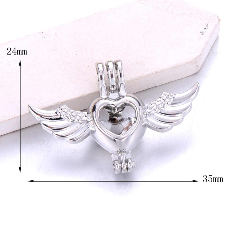 6 sztuk srebrny serce skrzydła naszyjnik bransoletka biżuteria Making Pearl Cage wisiorek medalion dyfuzor do perfum biżuteria dla Oyster Pearl