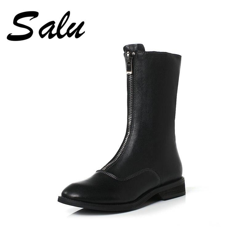 Salu 2019 정품 가죽 중반 송아지 부츠 여성 신발 블랙 라운드 발가락 낮은 굽 부츠 hademade 고품질 짧은 검은 부츠-에서미드 카프 부츠부터 신발 의  그룹 1