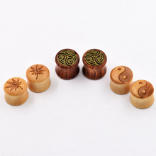 3pair Wood Fashion Ear Pierces Expanders Charm Flesh Ear Skins Tunnels Plugs Stretcher Earring Plug Body Piercing Jewelry