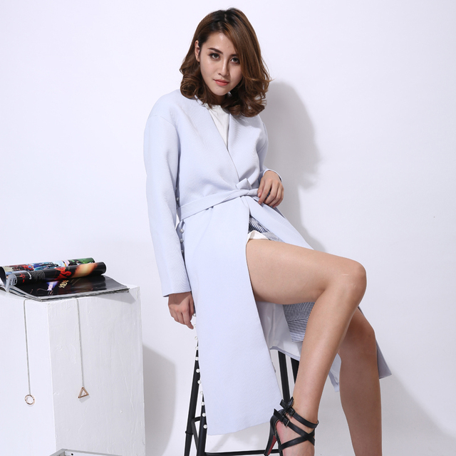 [TWOTWINSTYLE] spring women blazers and jackets with belt pearl beading long slit feminino new white fashion clothing