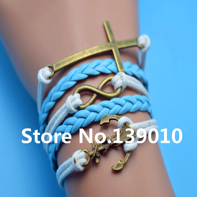 Whole Blue And White Leather Wax Cord Woven Cross Anchor Infinity Bracelets Bangles Fashion Women Men