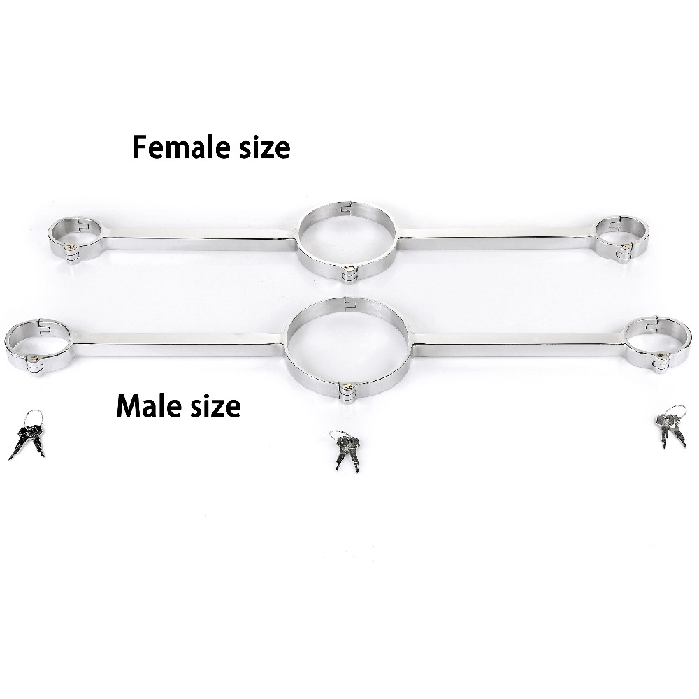 Metal Bondage Lock Neck Collar Hand Cuffs Stainless Steel Slave BDSM Restraints Sex Toys For Couples Spreader Bar Handcuffs цена 2017