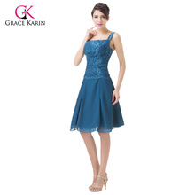 Mother of the Bride Lace dresses Grace Karin Knee length Blue Coat  two pieces Short Mother Dresses With Jacket Groom dress 6235