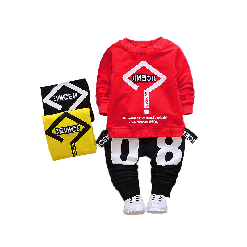 2017 Kids Boys Autumn Clothes Baby Clothing Sets Newborn Baby Girl Boy Long Sleeve T-Shirt+ Number Print Pant Outfits Set kids clothes boys set 2017 autumn winter boys clothing set printing long sleeve tops camouflage pant 2pcs tracksuit for girl