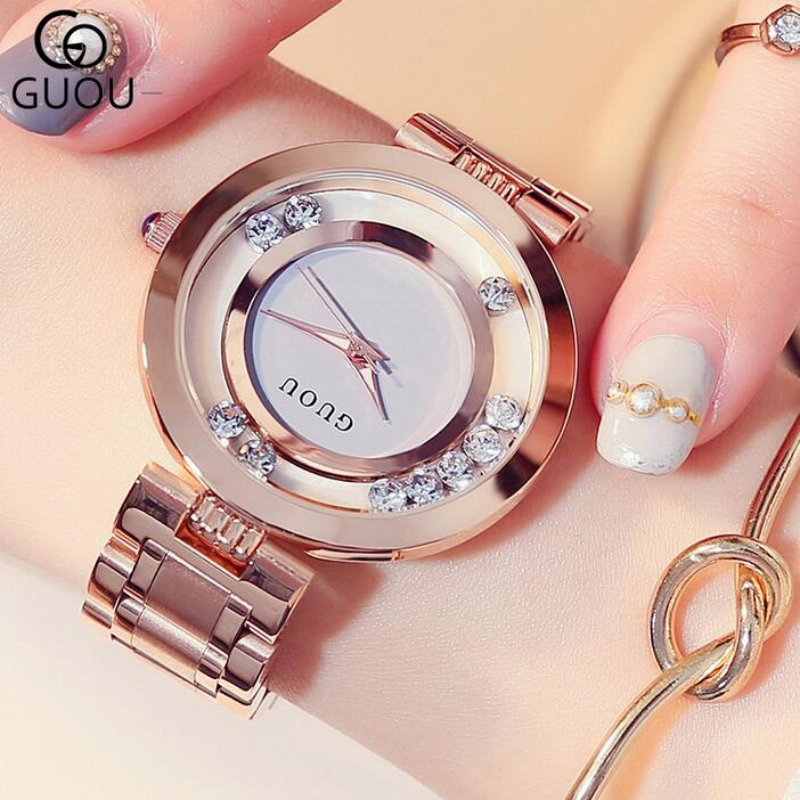 GUOU Glitter Diamond Watch Women Watches Luxury Rhinestone Women's Watches Stainless Steel Ladies Watch Clock saat reloj mujer guou clock luxury diamond women s rose gold ladies watch women watches luxury rhinestone watch clock saat reloj mujer relogio