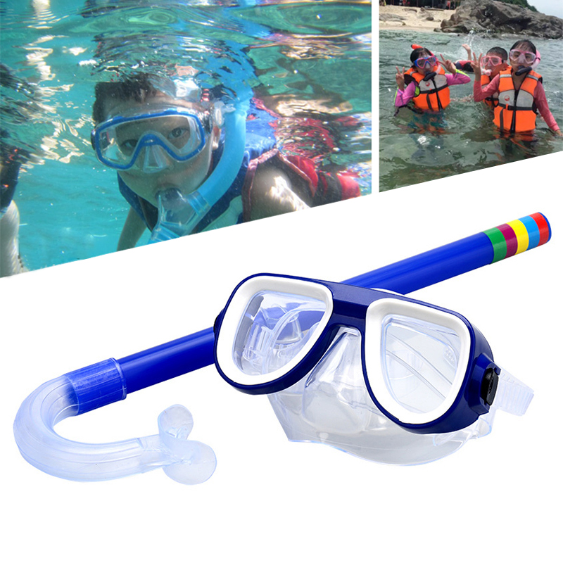 2018 New Child Diving Snorkeling Mask Swimming Scuba Total Dry Snorkel and Mask Glass Lens PVC 4 Color Child Diving Glasses ...