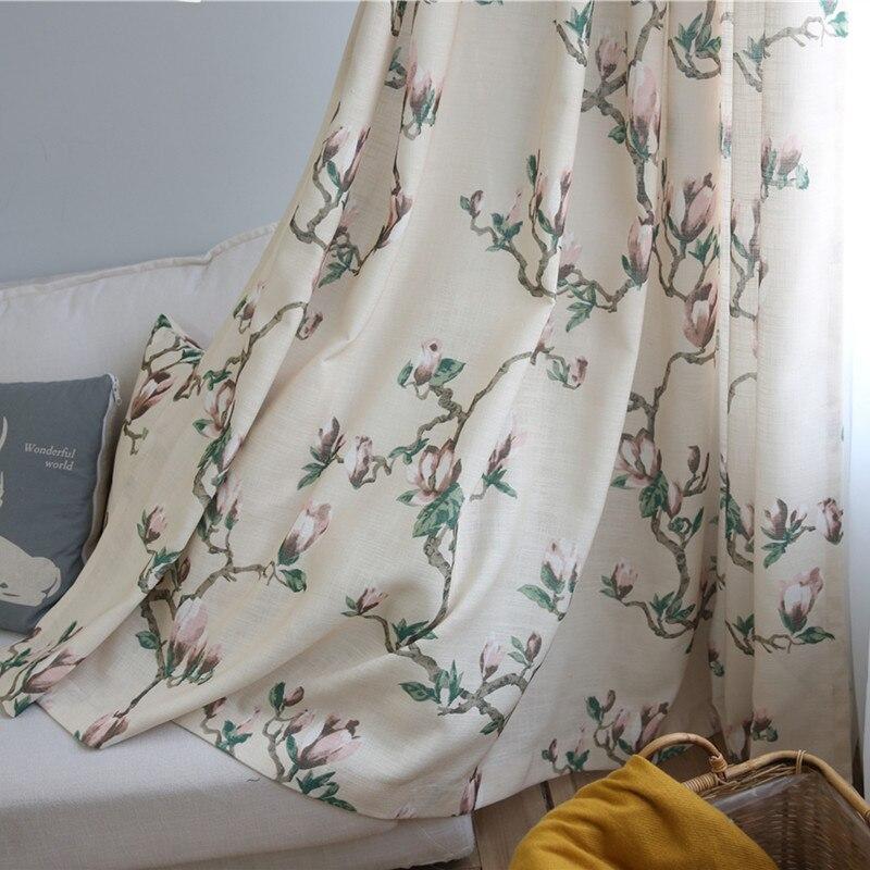american vintage algodn impreso semi sombra cortinas de saln comedor mainland