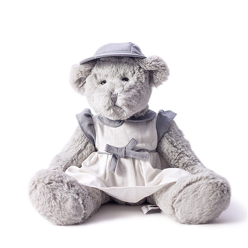 Plush toy grey female bear wear white linen skirt with light blue hair cap beautiful new design 40cm tall