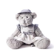 आलीशान खिलौना ग्रे मादा भालू सफेद नीले बाल टोपी के साथ सफेद लिनन स्कर्ट पहनते हैं सुंदर महिला भालू नई डिजाइन 40 सेमी लंबा