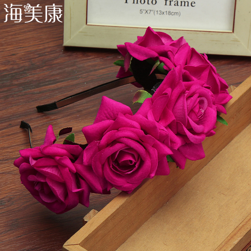 Haimeikang Festival Hair Bands Flower Tiaras Romantic Bridal   Headwear   Bohemia Style Hair Accessories Garland Women HeadBand