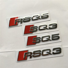 Red Silver SQ3 SQ5 RSQ3 RSQ5 Metal Car Styling Refitting Emblem Badge Sticker For Audi Q3 Q5 Rear Tail Badge(China)