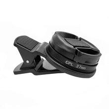 Профессиональный широкоугольный поляризатор для телефона 37 мм, круглые портативные аксессуары, прочные с клипсой, черные линзы, универсальный CPL фильтр