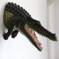 Производители моделирование животных Смола голова крокодила Висячие настенные украшения Большая Садовая статуетка с узором скульптура