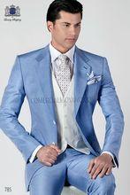 2017 Latest Coat Pant Designs Italian Light Blue Men Suits Slim Fit Tuxedo 3 Piece Gentle