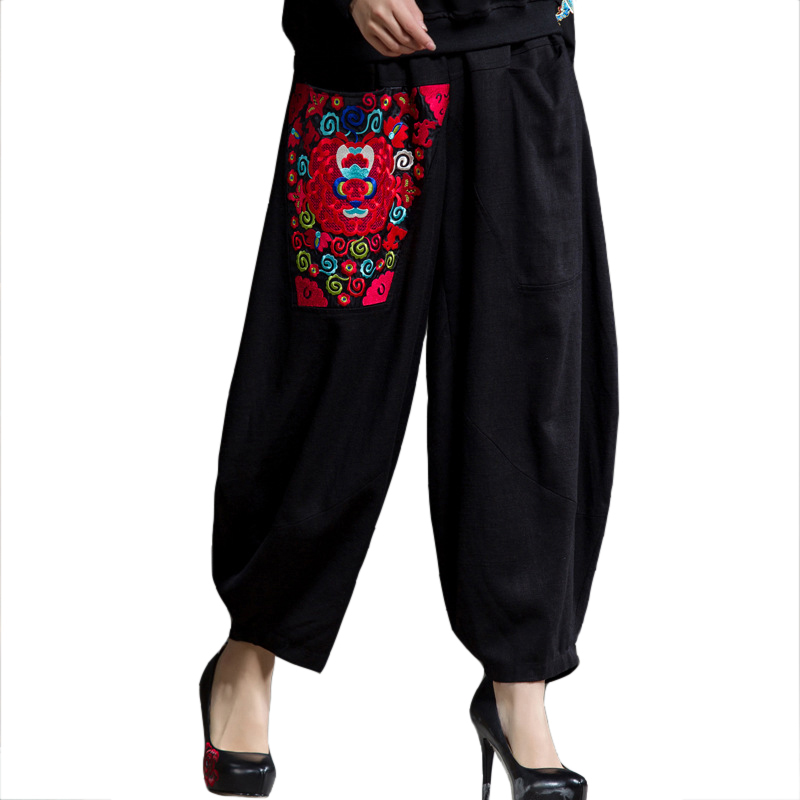 Embroidery Flower Black Chinese Lady Trousers High Waist Pattern   Wide     Leg     Pants   Leisure Cotton Pockets   Pant   Size L-XXL